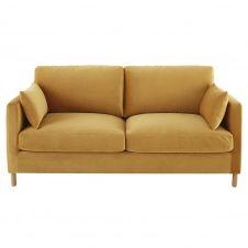 Canapé 3 places en velours moutarde Julian