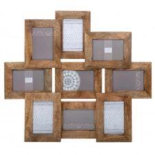 Cadre photo 9 vues en bois 58 x 66 cm AYNA