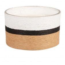 Bougie parfumée en verre et corde beige, noire et blanche