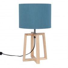 Lampe en hévéa avec abat-jour bleu