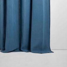 Rideau à oeillets noirs 135×280 cm Bleu et feston noir