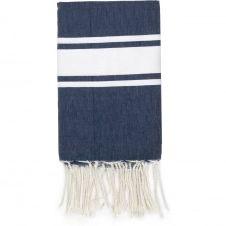 Fouta en coton bande blanche 100×200 Bleu jean