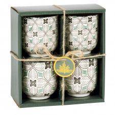 Coffret tasses (x4) en grès motifs graphiques bleu gris, verts et blancs