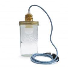 Lampe bocal à poser fil bleu