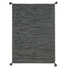 Tapis 100% coton tissé et tressé gris 190×290