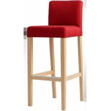 Chaise de bar tissu rembourrée rouge pieds bois massif clair
