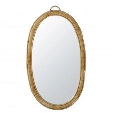 Miroir ovale en rotin 63×113