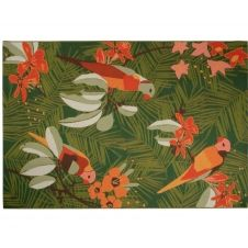 Tapis d'extérieur en polypropylène tissé vert motif végétal multicolore 160×230