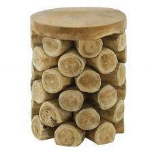 Tabouret rondins de bois