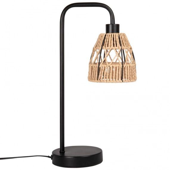 Lampe en corde tressée et métal noir