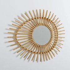 Miroir rotin forme «oeil» vintage, Nogu
