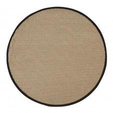 Tapis d'extérieur rond en polypropylène tissé beige et noir D160