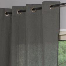 Rideau en lin lavé 140×290 Vert kaki et noir