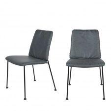 2 chaises en tissu micro-perforé bleu gris