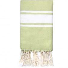 Fouta en coton bande blanche 100×200 Vert amande