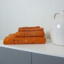 Drap de bain uni en 100% coton orange 100×150