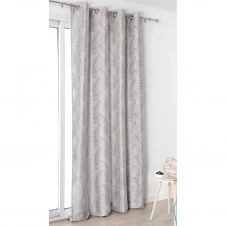 Rideau à oeillets aux motifs palmes polyester gris clair 250×145
