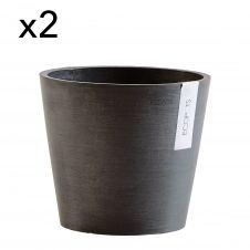 Lot de 2 pots de fleurs noir D20