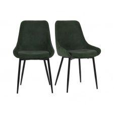Lot de 2 chaises design velours côtelé Vert Foncé
