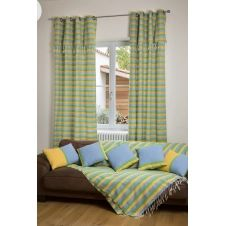 DJERBA – Rideau ajustable coton jaune turquoise vert 140 x 250 à 280