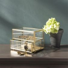 Boîte à bijoux avec compartiments 2 tiroirs verre et métal finition laiton antique Mira