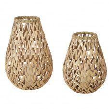 Lanternes en jacynthe d'eau et verre (x2)