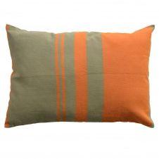 TANGER – Housse de coussin coton motif symétrique orange vert 35 x 50