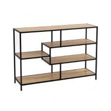 Console d'entrée en bois et métal noir 5 plateaux