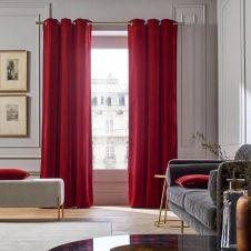 Rideau à oeillets dorés 137×350 cm Rouge