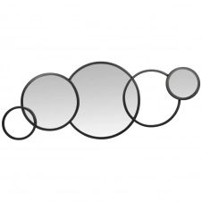 Déco murale cercles en métal noir et miroir 86×36
