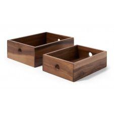 Clover, lot de 2 boîtes de rangements, bois d'acacia naturel