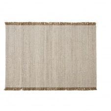 Tapis tissé écru avec franges en jute beige 140×200