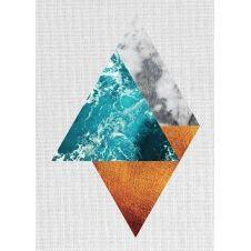 Tableau métal géométrie triangles 32×45