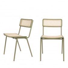 2 chaises en cannage vert de gris