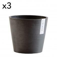 Lot de 3 pots de fleurs noir D20
