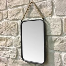Miroir industriel rectangle corde fer gris 52×33