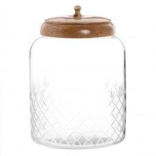 Boîte déco en verre strié et manguier