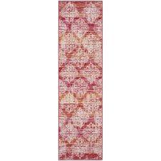 Tapis contemporain intérieur/extérieur rose et multicolore 62×240
