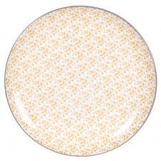 Assiette plate en grès jaune motifs graphiques