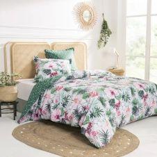 Parure de lit imprimée en coton vert 200×200