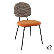 Lot de 2 chaises en velours terracotta pieds en métal noir