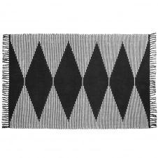 Tapis en coton tissé noir et blanc 120×180