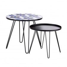 Tables basse de jardin en faïence à motifs et métal noir (x2) Carioca