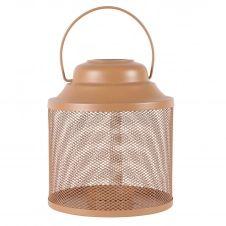 Lanterne métal orange h22,5 cm
