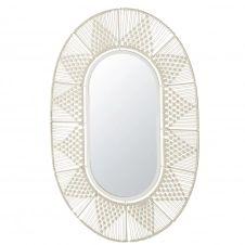 Miroir ovale en macramé blanc 69×105