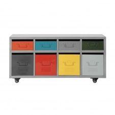 Cabinet à roulettes 8 tiroirs en métal multicolore L 124 cm Freestyle