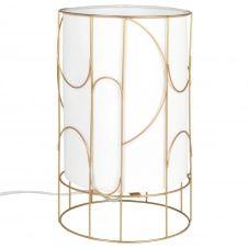 Lampe en métal doré et coton blanc