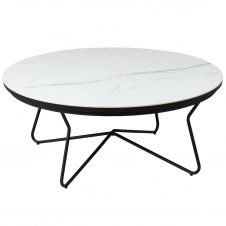 Table Basse Ronde Acier et Céramique