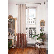 Rideau en velours de soie et lin 140×300 cm taupe