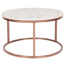 Table basse cuivrée avec effet marbre rose